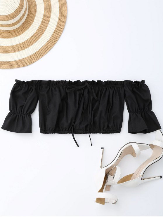 best Off Shoulder Drawstring Cropped Top - BLACK XL