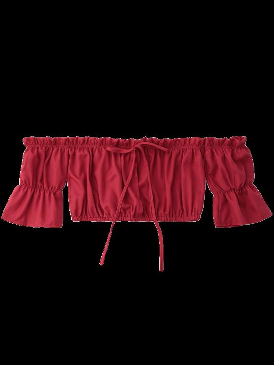 Off Shoulder Drawstring Cropped Top - RED L Mobile