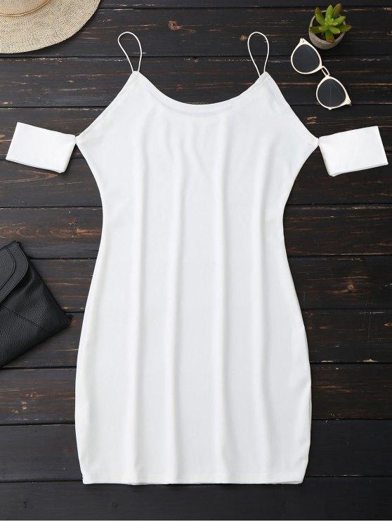 Cold Shoulder Spaghetti Strap Dress - WHITE S Mobile