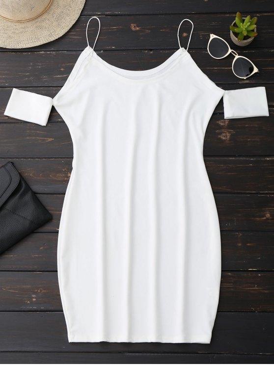 Vestido de tirantes de espagueti con hombros fríos - Blanco M