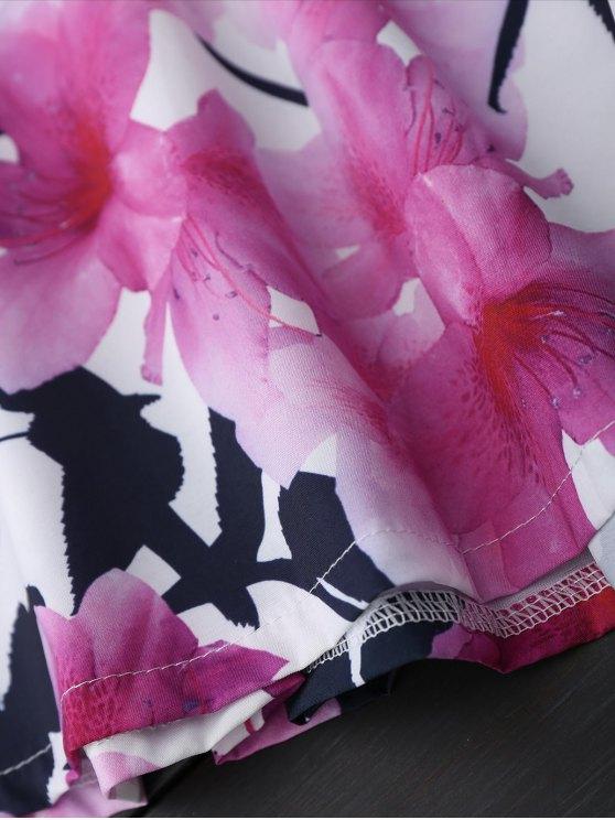 Open Back Lace Floral Wide Leg Romper - WHITE XL Mobile