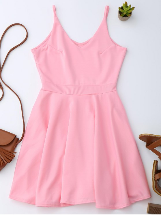 outfit Spaghetti Straps Skater Dress - PINK M
