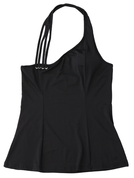 Halter Strappy Tank Top - BLACK L Mobile