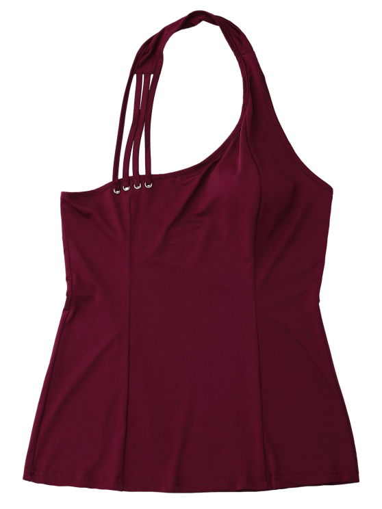 Halter Strappy Tank Top - WINE RED XL Mobile