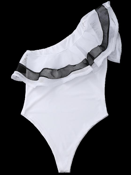 One Shoulder Mesh Ruffle Bodysuit - WHITE XL Mobile