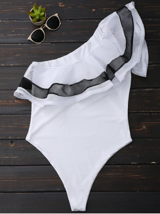 lady One Shoulder Mesh Ruffle Bodysuit - WHITE XL