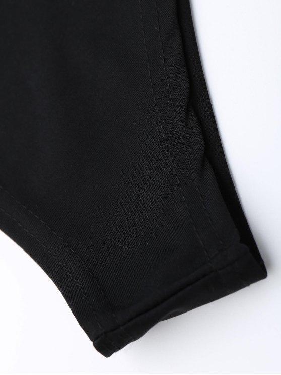 One Shoulder Mesh Ruffle Bodysuit - BLACK S Mobile