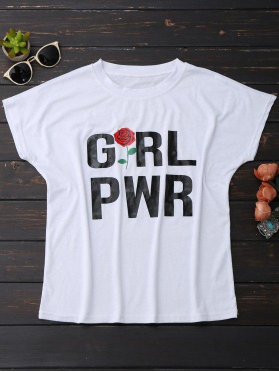 hot Short Sleeve Rose Graphic T-Shirt - WHITE L