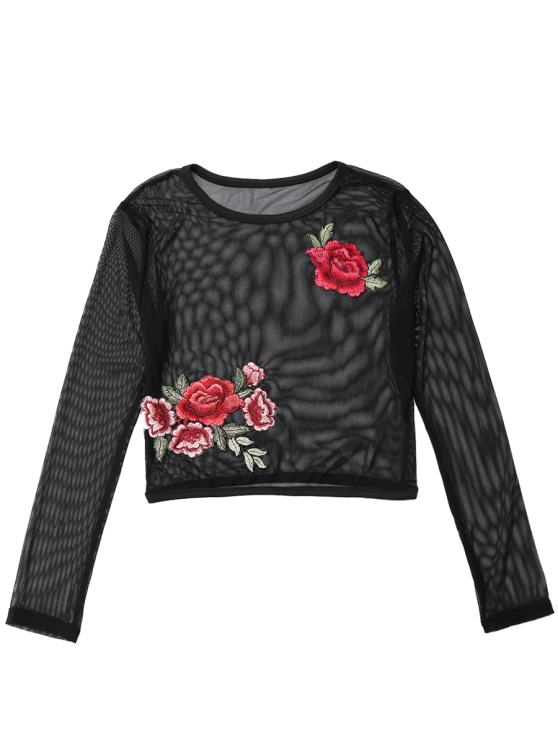 Mesh See Thru Rose Embroidered Crop Top - BLACK S Mobile