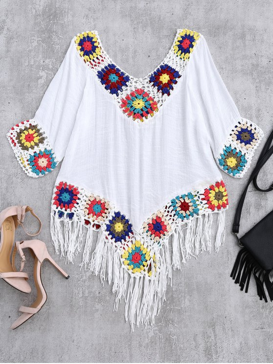 Crochet V Neck Fringed Linen Top - WHITE ONE SIZE Mobile