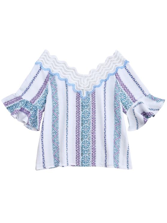Lace V Neck Flare Sleeve Print Top - WHITE S Mobile
