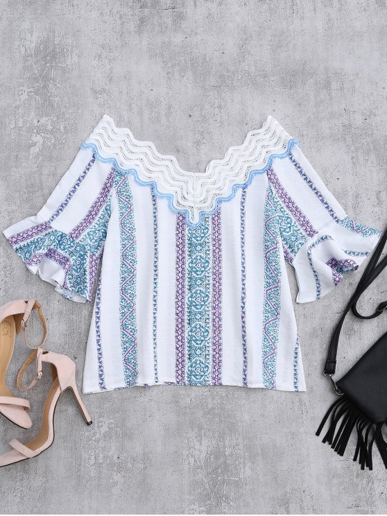 chic Lace V Neck Flare Sleeve Print Top - WHITE S
