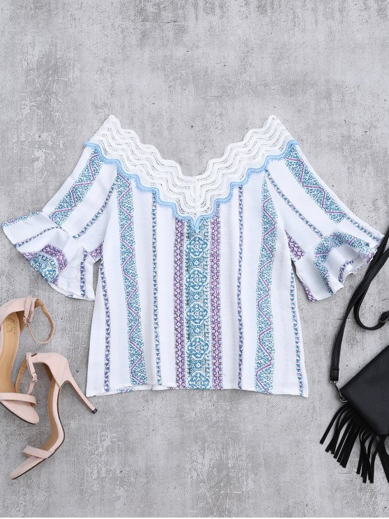 Lace V Neck Flare Sleeve Print Top - WHITE XL Mobile