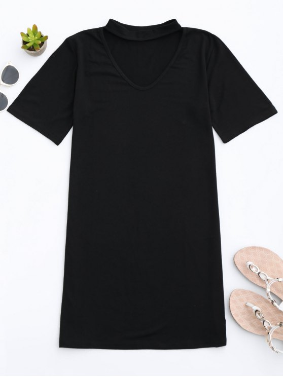 womens Choker Shift T-Shirt Dress - BLACK S