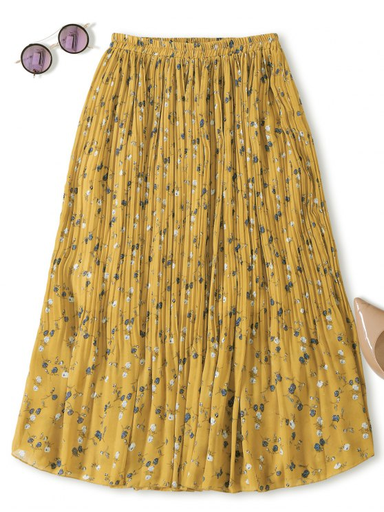 Midi minúscula falda plisada floral - Amarillo Única Talla