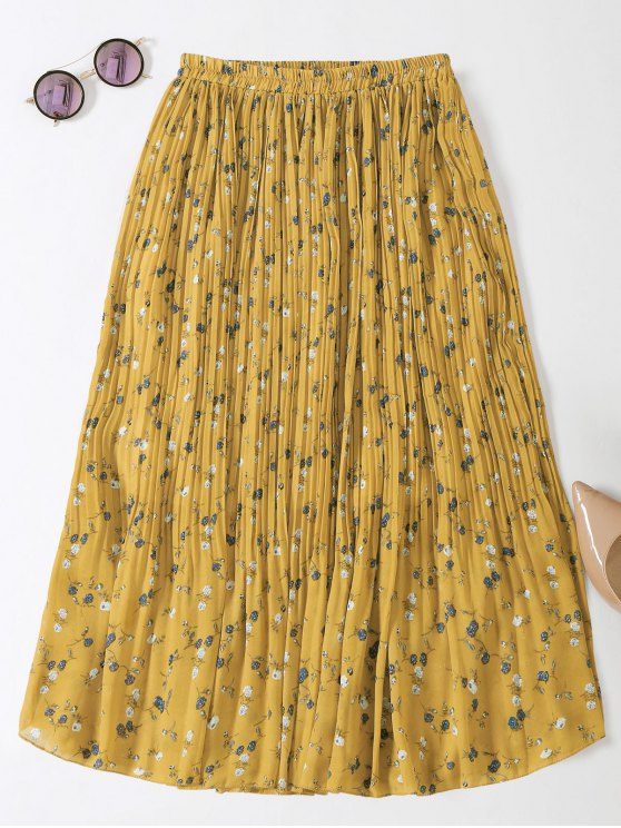 Midi Tiny Floral Pleated Skirt - YELLOW ONE SIZE Mobile