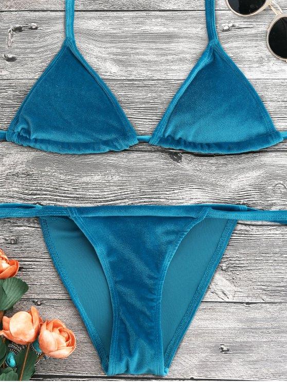 lady Halter Velvet Thong Bikini Set - PEACOCK BLUE S