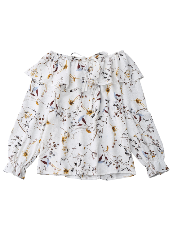 Off Shoulder Ruffle Drawstring Floral Blouse - WHITE S Mobile