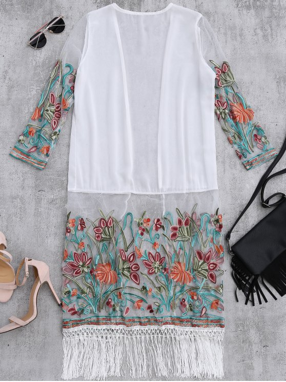 Floral Embroidered Mesh Fringed Dust Coat - WHITE ONE SIZE Mobile