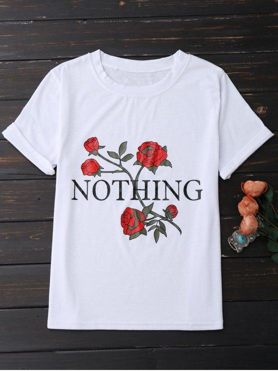 womens Nothing Rose Short Sleeve T-Shirt - WHITE XL