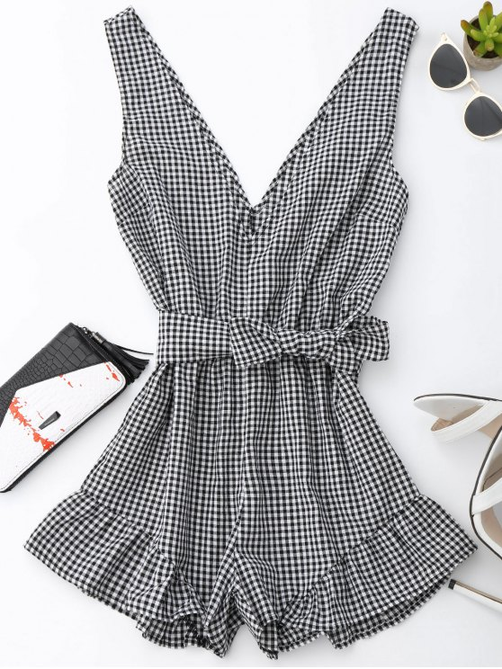 outfits Checked Plunge Romper - BLACK M