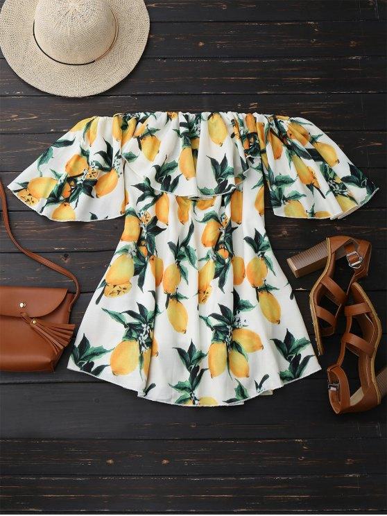 Off Shoulder Ruffle Lemon Beach Dress - WHITE M Mobile