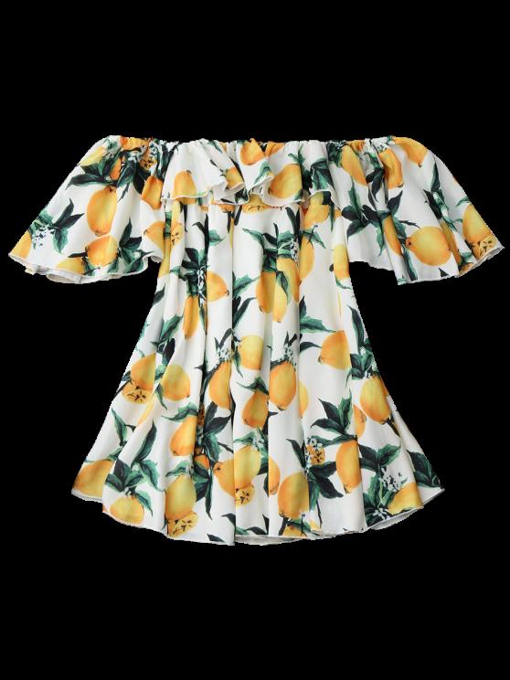 Off Shoulder Ruffle Lemon Beach Dress - WHITE L Mobile