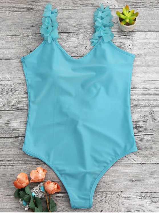 fashion 3D Floral Straps Open Back Swimsuit - LAKE BLUE ONE SIZE