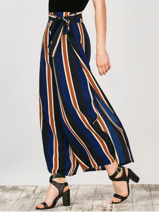 Pantalones anchos rayados de Palazzo de la pierna - Raya XL