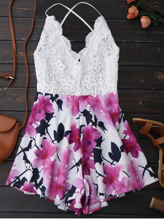online Open Back Lace Floral Wide Leg Romper - WHITE M