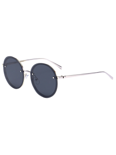 Round Mirrored Reflective UV Protection Metal Sunglasses - Silver Frame + Black Lens