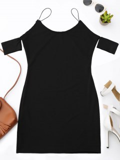 Cold Shoulder Spaghetti Strap Dress - Black M