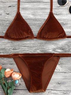 Halter Velvet Thong Bikini Set - Brown M