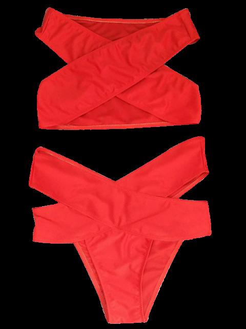 outfits Cut Out Bandage Bikini Set - RED L Mobile