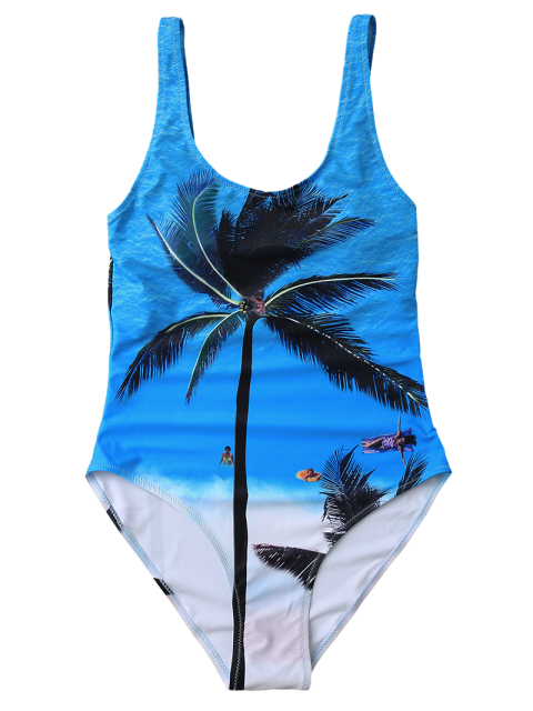 womens Slimming Tropical Print One Piece Swimsuit - BLUE L Mobile