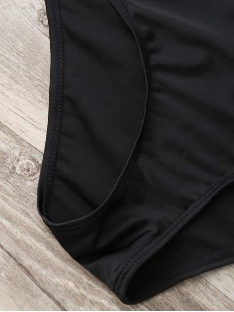 ladies Bandeau Lace Up One Piece Plunge Swimsuit - BLACK XL Mobile