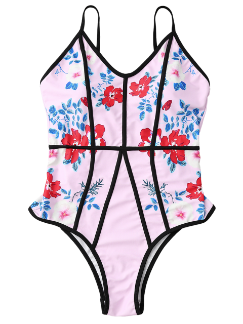 new Floral Print Slimming One Piece Swimsuit - PINK XL Mobile
