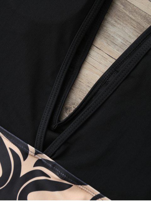 shop Illusion Yoke Baroque Plunge One Piece Swimsuit - BLACK XL Mobile