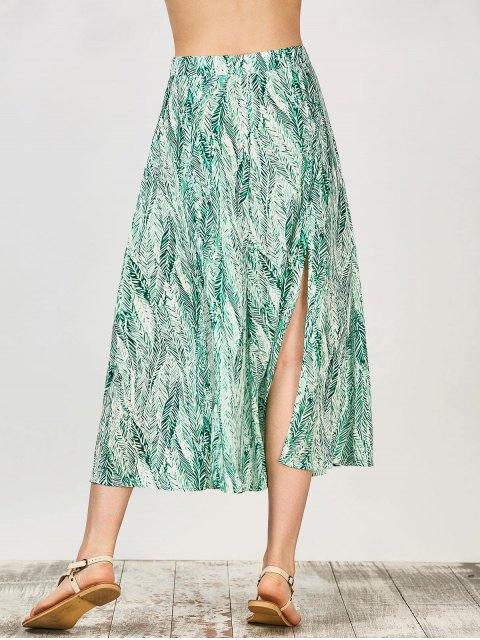 sale Leaf Print Slit Chiffon Midi Skirt - GREEN L Mobile