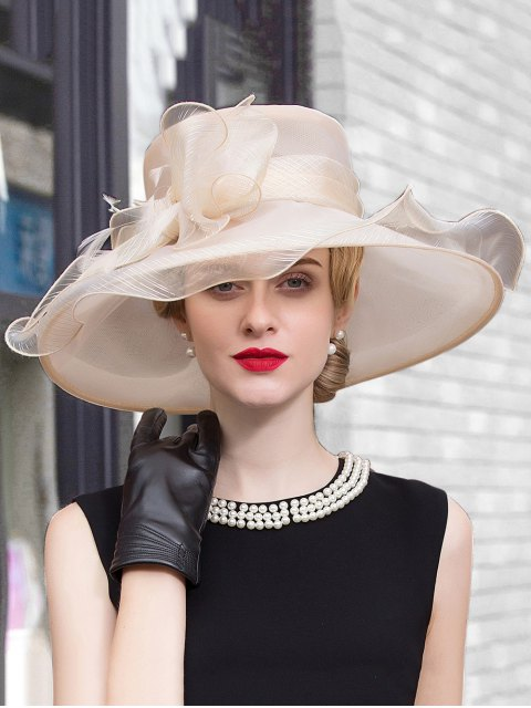 womens Wide Brim Feather Organza Bowknot Fedora Hat - CHAMPAGNE  Mobile