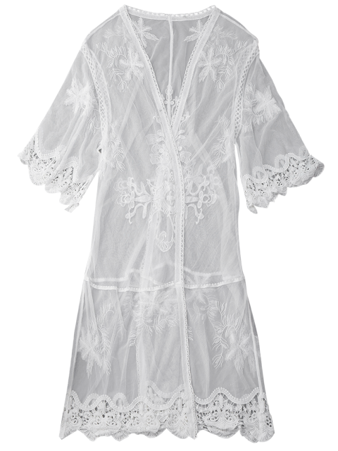 women's Sheer Lace Open Front Kimono Dust Coat - WHITE M Mobile