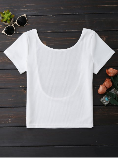 unique Ribbed Low Back Crop Top - WHITE M Mobile