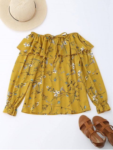 best Off Shoulder Ruffle Drawstring Floral Blouse - YELLOW S Mobile