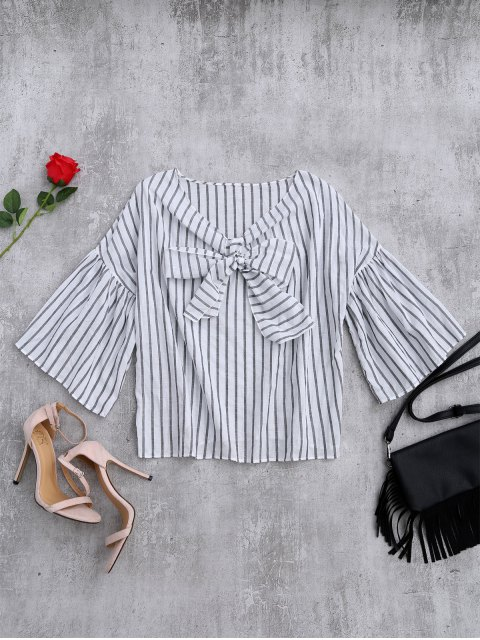buy Striped Flare Sleeve Knot Front Top - WHITE AND BLACK ONE SIZE Mobile