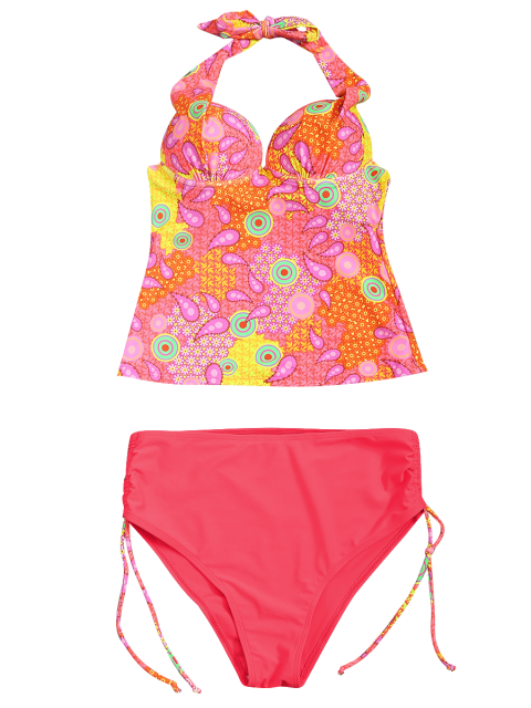 affordable High Waisted Paisley Runched Tankini - FLUORESCENT PINK L Mobile