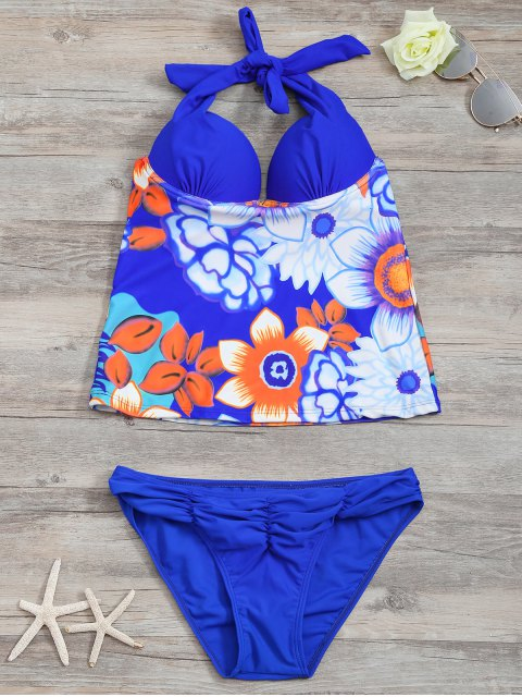 shops Underwire Floral Ruched Tankini Set - BLUE L Mobile