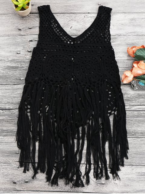 latest Tasselled Beach Crochet Cover Up Tank Top - BLACK ONE SIZE Mobile