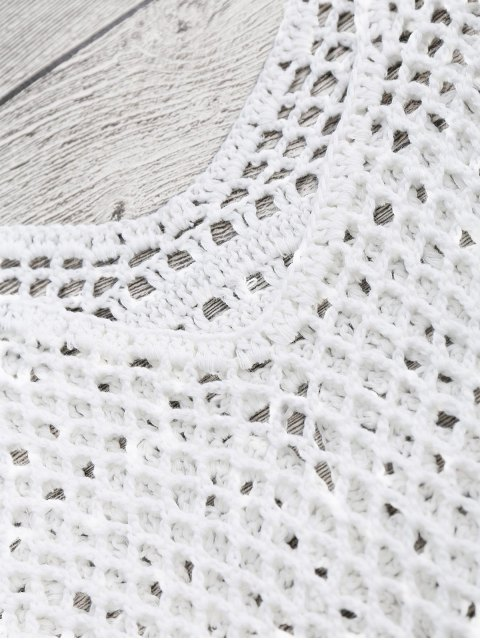 trendy Tasselled Beach Crochet Cover Up Tank Top - WHITE ONE SIZE Mobile