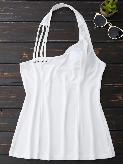 new Halter Strappy Tank Top - WHITE L Mobile