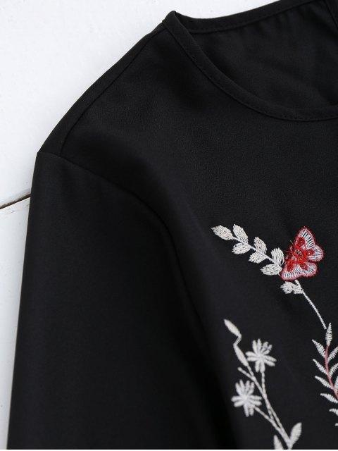 trendy Floral Embroidered Vintage A-Line Dress - BLACK M Mobile